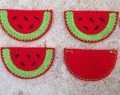 Watermelon Feltie - DIY Hair Clips (4) - You Choose Color -  Felt Embroidery