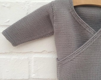 Hand knitted baby crossover cardigan - Available to order in sizes 3-6, 6-12 and 12-18 months