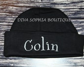 Personalized Baby Black Hat - Beanie Hat