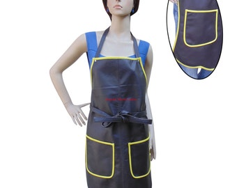 Women's Leather Apron With Pockets & Yellow Piping BWP004