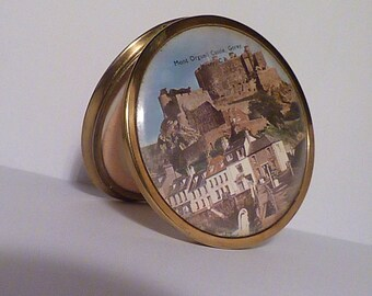 1950s Mascot powder compact showing Mont Orgueil Castle Jersey UK pocket mirror