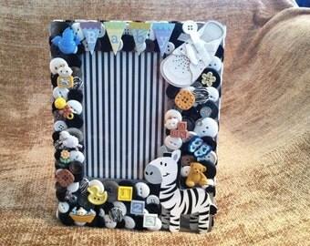 SALE - Zebra Baby Boy Button Picture Frame