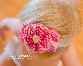 Pink Beige Raspberry  Headband  for Babies Girls / Frayed  ruffle flower Double Rosettes on Beige lace