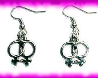 Lesbian - Female Gender Symbol Silver Earrings