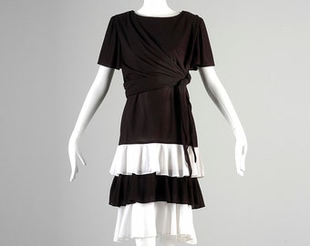Vintage 80s Black White Layered Ruffle Side Tie Casual Dress Short Sleeve Summer