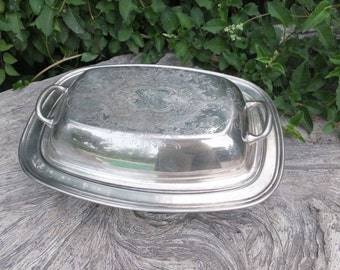 Elegant Chic Oblong Vintage Silverplate Covered Dish W/Silverplate Insert