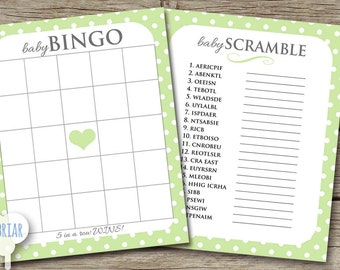 Printable Baby Shower Party Games, Green and Gray, BINGO, word scramble, polka dot, gender neutral, cute and fun; INSTANT DOWNLOAD