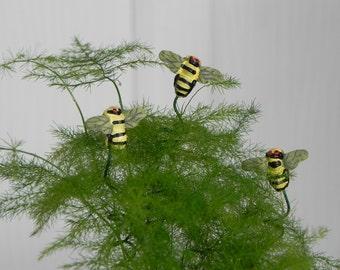 Fairy Garden miniature accessories bee picks set of 3 for terrarium or miniature garden