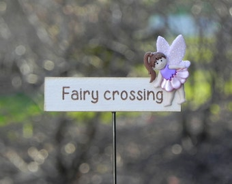 Fairy Garden accessories miniature fairy crossing sign with fairy