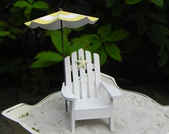 Miniature Adirondack White Chair with Umbrella for fairy garden terrarium choice of four colors