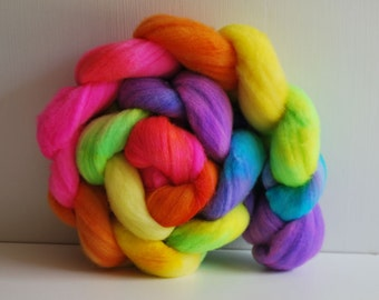Hand Painted Merino Wool Top 4 oz - Electric Rainbow