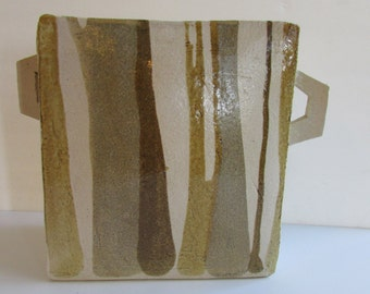 Vintage Modern Minimalist Large Asian Ceramic Vessel with Handles
