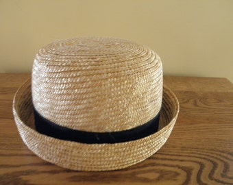 Nice Straw Hat with Black Ribbon Trim