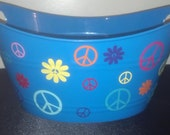 Personalized Basket, Plastic Oval Easter Tub with Peace Signs and Flowers