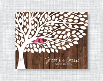 Tree With Wood Background Wedding Guestbook Alternative Art Print-Leaves-Rustic-Guest Book-Poster OR Canvas-16x20-18x24-20x30-24x36-Custom