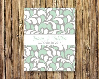 Wedding Guestbook Alternative Art Print-Leaves-Guest Book-Poster OR Canvas-16x20-18x24-20x30-24x36-Mint-White-Grey-Custom Colors