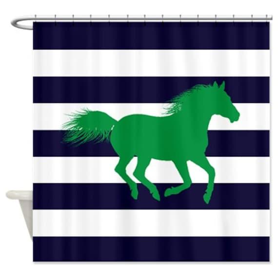 Horse Shower Curtain Navy Blue Green