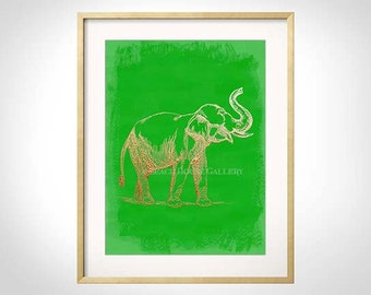 Elephant Print, Green Wall Art, Elephant Wall Art, Chartreuse, Chinoiserie, Elephant Art, Spring, Colorful Wall Art, Palm Beach Tropical