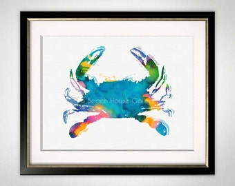 Blue Crab Art, Blue Crab Watercolor, Crab Print, Colorful Crab Illustration, Crab Art Print, Blue, Teal, Green, Beach House Kitchen