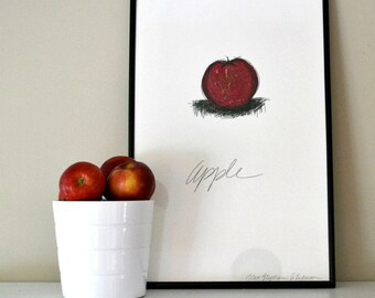 ART PRINT of Red and Green Apple on White Background