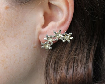 Vintage Costume Silver Tone & Rhinestone Daisy Chain Earrings - Screw