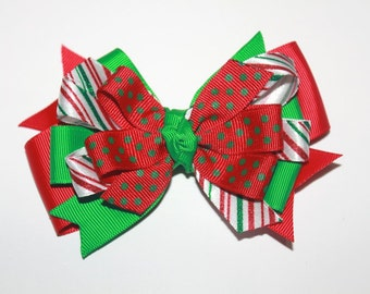 Red and Green Christmas Hair Bow, Candy Stripe Bow