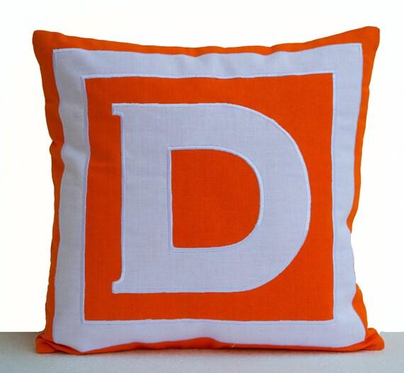 Decorative Pillows Personalized : Items similar to Decorative pillows personalized monogrammed in bold orange and white - Big ...