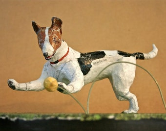 Jack Russell Terrier, Unique, Whimsical, Dynamic Paper Mache Dog Sculpture