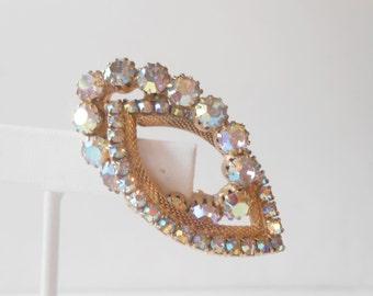 Rhinestone Brooch, Vintage Jewelry, Retro Glamour, Costume Jewelry, Sparkly Pin