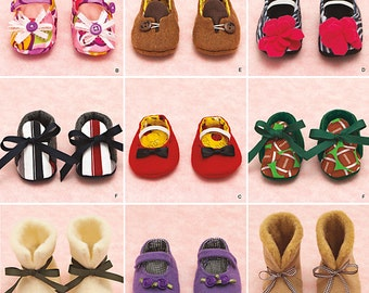 Smiplicity 1677 Baby Shoe Sewing Pattern Siz S, M, and L