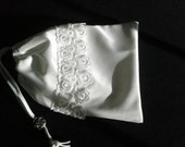 White Satin and Lace Pouch Drawstring Bag