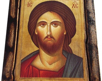 Jesus Christ - Orthodox Byzantine icon on wood handmade (22.5cm x 17cm)