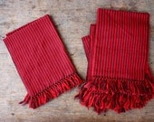 Set of Six Placemats - Red and Deep Purple Thin Stripe with Knotted Fringe - Nautical Rustic Handmade & Handwoven - FREE SHIPPING