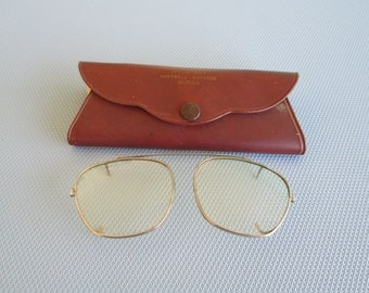 1940s Clip On Eye Glasses with Case