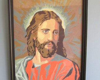 Mod, Kitschy Framed Jesus Paint By Number