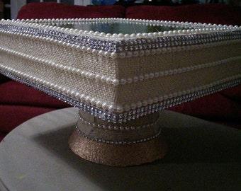 Burlap & Pearls Cake Stand
