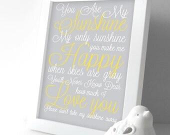 You are My Sunshine Nursery Decor - Baby Girl Nursery Decor - Baby Girl Nursery Wall Art - Lullaby Art Prints - Kids Room - Yellow & Gray