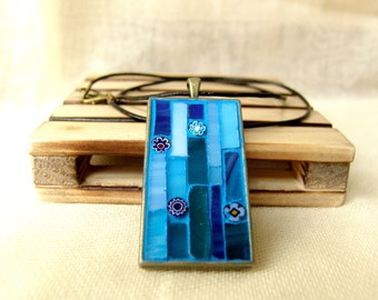 Blue necklace, mosaic jewelry, stained glass pendant, free shipping
