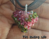 SALE!! Swarovski 3D Puffy Heart Crystal Pendant Necklace - Pink and Green
