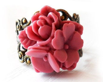 Lily Bouquet Flower Ring - Mauve Pink Flower Ring -  filigree bronze Adjustable Ring