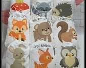 """Party Favor Bags Woodland Forest Friends Birthday or Baby shower Personalized Treat or Gift Bags 5"""" X 7"""" or 6"""" x 8""""  Qty 9"""