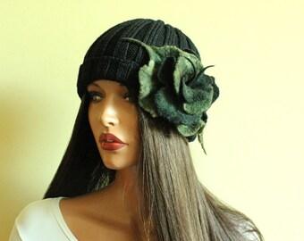 Green black brooch Felted brooch Dark olive green brooch Fancy flower Green flower  Felt brooch