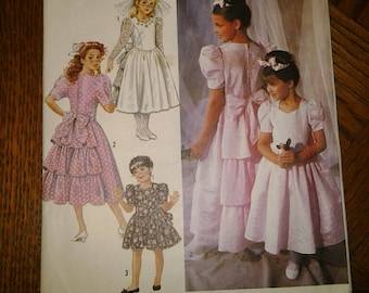 Wedding flower girl pattern, Simplicity 7079, church, Easter dresses, cut, good condition, sizes 2-6x