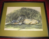 "LION PASTEL  DRAWING-Vintage Frame and Drawing Signed by Artist 15"" X 18"""