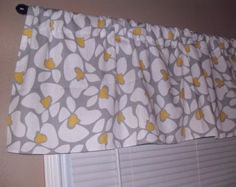 Handmade Curtain Valance, 54W x 15L, in Gray/White/Yellow Floral Print ,Home Decor,Nursery