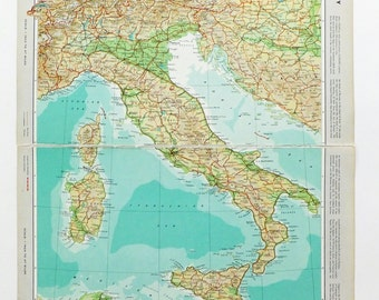 Map of Italy, Very Large Vintage Map, travel souvenir, Italian Map, Italy Map