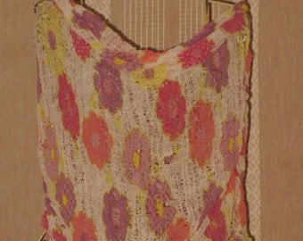 Shredded infinity scarf/shrug made of repurposed t-shirt