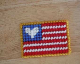 Heart and Stripes Forever Magnet, Plastic Canvas, Patriotic Decor, American Flag, Fourth Of July