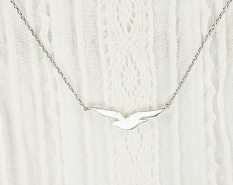 Tiny Silver Seagull Charm with Silver Chain Necklace . Bridesmaid Necklace Bridesmaid Gift Dainty and Delicate Necklace