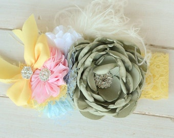 Flower Girl Headband, Little Girl Headband Made to Match Matilda Jane Clothing Line  Flower Lace Feathers and Rhinestones